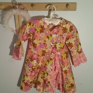 Other - Size 2T Pink Yellow Cotton Flowered Dress